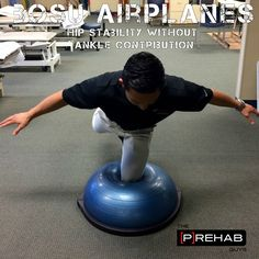 Bosu Airplanes - Hip Stability Without Ankle Contribution core stability kids Strengthen Hips, Pediatric Physical Therapy, Physical Therapist, Pediatric Ot, Occupational Therapy, Spin Bike Workouts, Bosu Ball, Core Stability, Tight Hip Flexors