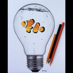 Last commissioned lightbulb for now💡🐠 Fish Drawings, Art Drawings Sketches Simple, Pencil Art Drawings, Realistic Drawings, Colorful Drawings, Animal Drawings, Light Bulb Drawing, Light Bulb Art, Color Pencil Art