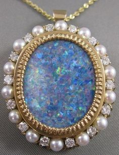 Antique AAA Opal Diamond Pearl 14kt Yellow Gold Pin Brooch Pendant vs 31241 | eBay