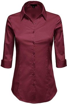 Amazon.com: MAYSIX APPAREL 3/4 Sleeve Stretchy Button Down Collar Office Formal Casual Shirt Blouse for Women Fit (XS-6XL): Clothing