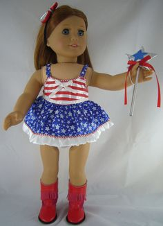 """Satin Patriotic Dance 4 piece Outfit for 18"""" American Girl Doll Clothes BARGAIN #Generic"""