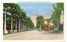 1920s Vintage Postcard - In Front of the Edison Estate - Fort Myers Florida Vintage Postcard http://www.amazon.com/dp/B00PJBSG06/ref=cm_sw_r_pi_dp_Cw1Vwb1G4RZNK