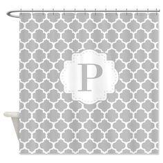 Gray White Quatrefoil Monogram Shower Curtain On CafePress Curtains