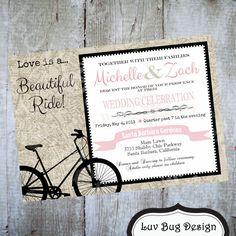Bicycle Wedding Invitation Printable party by luvbugdesign on Etsy, $15.00