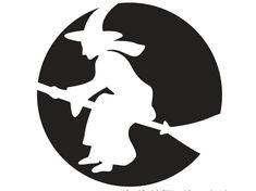 auf einem besen fliegende Hexe