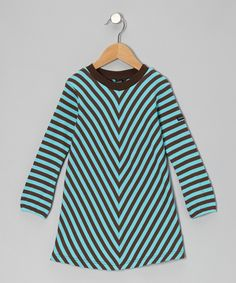 Take a look at this Turquoise Chevron Swing Dress - Toddler & Girls on zulily today!