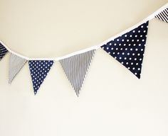 Navy blue and white polka dots and stripes fabric bunting banner
