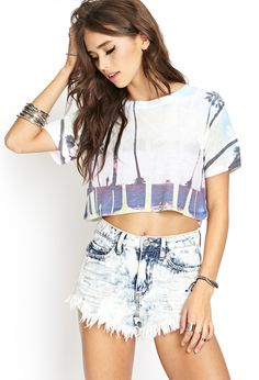 Boardwalk Sunset Crop Top | FOREVER21 #SummerForever #GraphicTee