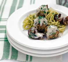 The best meal for spaghetti and meatballs. Ring the changes and use veal for the meatballs and a quick homemade mushroom sauce. This is perfect family food. Best Meatballs, Pork Meatballs, Meatball Recipes, Pork Recipes, Cooking Recipes, Recipies, Garlic Mushrooms, Stuffed Mushrooms, Stuffed Peppers
