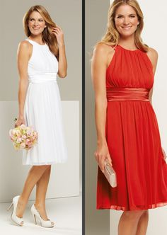 P4843 knee-length #bridesmaiddress. white, flame. available in over 30 different colours