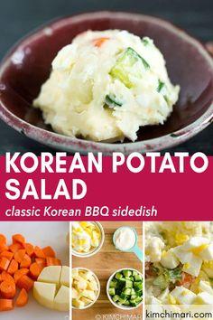 Korean Potato Salad (Gamja Salad) - Korean Potato Salad (Gamja Salad) is somewhat similar to the classic American potato salad but the - Korean Potato Salad, Korean Potatoes, American Potato Salad, Korean Side Dishes, Korean Potato Side Dish, Korean Bbq Restaurant, Greek Diet, Bulgogi, Grilled Meat