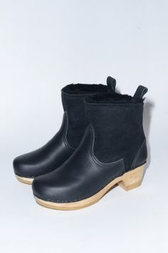 """5"""" Pull on Shearling Boot on Mid Heel in Black Suede"""