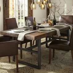 American country loft iron industrial wind vintage work table desk table distressed solid wood dining room table and chairs/Home & Living - 65daigou