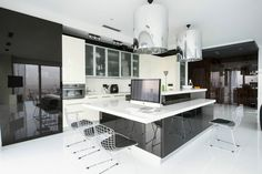 Apartments, Lovely Apartment Design With Modern Minimalist Interior In Black And White Color Open Kitchen With Cabinet Island Lamp Shade Track Lighting Porcelain Floor And Chairs Ceiling: Modern Apartment in Moscow with Minimalist Interior