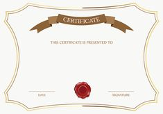 White and Brown Certificate Template PNG Image