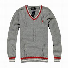 Polo Ralph Lauren Sweater | Polo Ralph Lauren V neck Classic Sweater 9003 Gray - Cheap Men ...