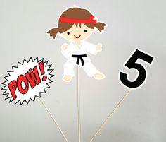 Karate Centerpieces, Karate Kid, Karate Birthday, Karate Party, Girl Karate by CraftyCue on Etsy