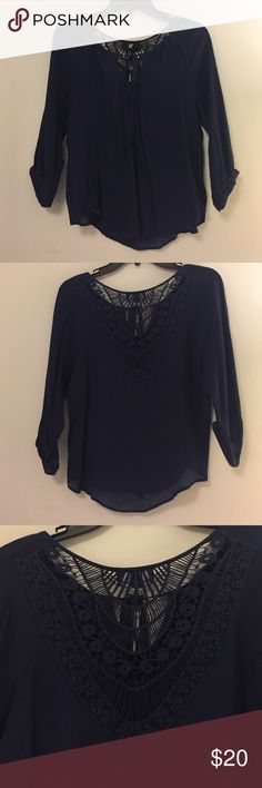 Detailed Top Navy with detailed back. Light and perfect for spring and summer! Size small Iz Byer Tops