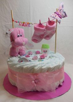 Diaper cake pink blue baby gift birth baptism girl boy with name doggie .de - Diaper cake pink blue baby gift birth baptism girl boy with name doggie … - Idee Baby Shower, Fiesta Baby Shower, Baby Shower Diapers, Baby Shower Gifts, Diy Baby Gifts, Baby Crafts, Baby Party, Baby Shower Parties, Shower Party