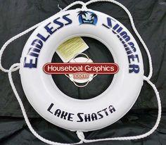 Houseboatgraphicscustomdesignliferingboatbuoy Lifebuoy - Custom designed houseboat graphics