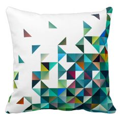 Cool modern geometric shapes and triangles pattern. Blue overtones with red and yellow accents