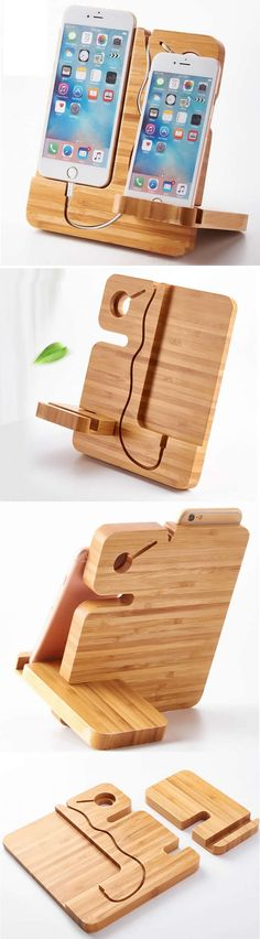 Bamboo iPhone Smartphones Charging Dock Charge Station