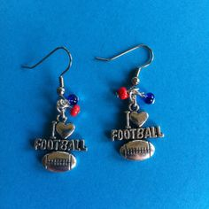 I Heart Football Earrings Customize for your by bijouxdesignz, $11.00