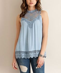 Look what I found on #zulily! Blue Lace-Detail Sleeveless Top #zulilyfinds