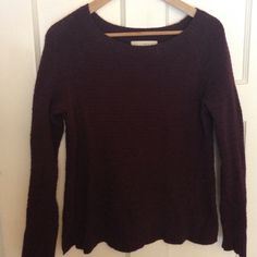 Maroon long sleeve cotton, nylon, rayon. Worn twice. Would fit a small medium or a little over sized on a small person. LOFT Sweaters Crew & Scoop Necks