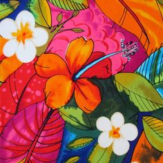 Fabric Bebel In Multi Brights Tropical Hibiscus Hawaiian Alexander Henry By The Yard Aff Link