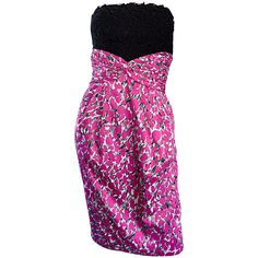 Liancarlo Neiman Marcus Vintage Pink Black White Leopard Print Strapless Dress   From a collection of rare vintage day dresses at https://www.1stdibs.com/fashion/clothing/day-dresses/