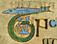 Book of Kells - initial letter T with fish Get as tattoo on shoulder blade. T for thomas, fish for Galvin.
