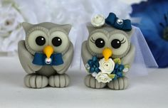 Love bird owl wedding cake topper with blue orchid bouquet, navy blue wedding, with banner