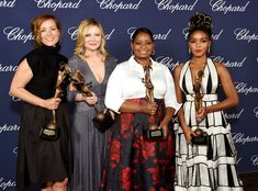 (L-R) Actresses Kimberly Quinn, Kirsten Dunst, Octavia Spencer and Janelle Monae pose with the Ensemble Performance Award during the 28th Annual Palm Springs International Film Festival Film Awards Gala at the Palm Springs Convention Center on January 2, 2017 in Palm Springs, California.