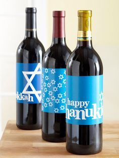 Dress up a wine bottle for a fun Hanukkah hostess gift. Love these free wine label downloads from Better Homes and Gardens. Use Avery full-sheet labels for the free printable, then just cut, peel and stick.