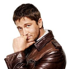 Gerard Butler in another brown leather jacket