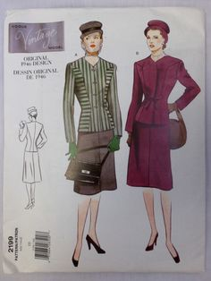 1998 VOGUE Vintage Model REPRODUCTION Original 1946 Design SUIT Pattern sz 10 UNcut