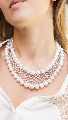 Classic multi strand diamond pearl necklace by Yoko London with beautiful South Sea pearls for your bridal pearl jewelry inspiration! Discover more on GEMOLOGUE! Source by Jewelry Pearl Necklace Designs, Pearl And Diamond Necklace, Multi Strand Pearl Necklace, Pearl Diamond, Diamond Jewelry, Bridal Necklace, Wedding Jewelry, Pearl Necklace Wedding, Pearl Bridal