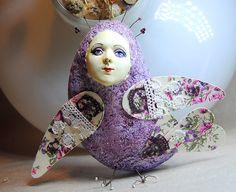 Sirin bird lilac flowers OOAK Art Doll-pendant interior, Handmade, Papier mache by JuliasArtStore on Etsy