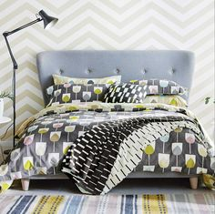 Transform your bedroom with this Sula duvet cover from Scion. Made from cotton percale, it features an all over floral motif on the front with the same pattern in contrasting colours on the rever Urban Bedding, Grey Bedding, Luxury Bedding, Linen Bedding, Bedding Sets, Bed Linens, Double Duvet Covers, Single Duvet Cover, Retro Bedrooms