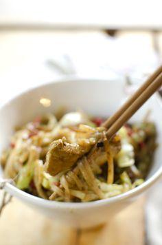 wok med svinekjøtt og ingefær