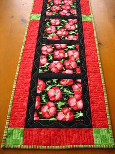 Bright n Sassy Table Runner #quilting #poppies #thecraftstar $42.00