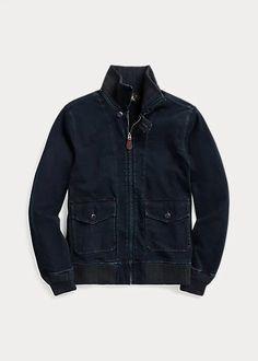 RRL Indigo Jersey Bomber Jacket – Drest by Scott Malouf Brand Sale, Women Brands, Spring Outfits, Indigo, Bomber Jacket, Ralph Lauren, Leather Jacket, Denim, Jeans