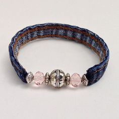 Read More About Denim Pink Beaded Wrap Jean Bracelet, Recycled Upcycled Eclectic Wrap Braclet, Pink & Silver Beads Denim Seams