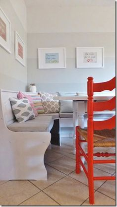 Fabulous ombre dining room walls with pops of coral!...would do this with shades of gray and yellow/turqouise and only on one wall