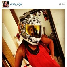 """Kristy from Nebraska repping the LuckyYogi motorcycle helmet bow in holographic """"diamonds"""" with rhinestones in the center and outlining the bow. Hells yea she's looking chic on her Honda cbr 600rr. Go get em lady."""