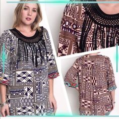 UNIQUE TRIBAL PRINT TUNIC! GOES WITH EVERYTHING! Pretty tribal print tunic with beaded fringe neckline. Wear it with capris, jeggings, shorts, skirt, anything! Burgundy or navy. Measurements upon request. PLEASE DO NOT BUY THIS LISTING, I will personalize one for you. tla2 Tops Tunics