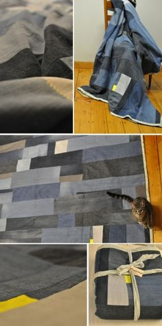 Jean quilt idea  The boys would LOVE this!