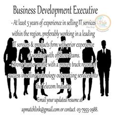 We are looking for Business Development Executive who will manage the end-to-end sales process for all opportunities including initial client communication, on-site presentations, multi-day client workshops, RFP submission, negotiation and deal signing. see link for more details.  https://www.facebook.com/apmatchlink/photos/a.10152233278302880.1073741826.359210092879/10152810190162880/?type=1&theater …  #MatchlinkJobs