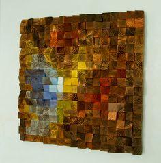 "Reclaimed wood wall art, Rustic wall art ""The Northern Lights"" 30""x30"""